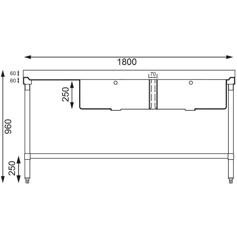 Evier en acier inoxydable double gauche 1800mm plonges - Eviers et plonges ...
