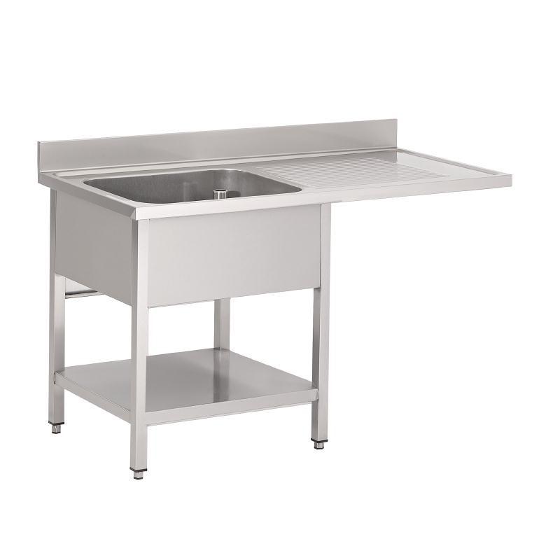 Plonge inox avec étagère basse et emplacement lave-vaisselle Gastro M 1 bac à gauche 1200 x 700 x 850mm