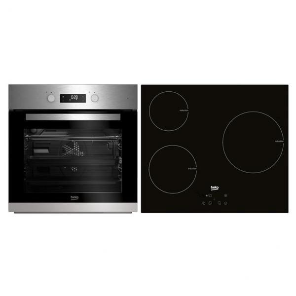 Combiné four et plaques vitro-céramiques BEKO BSE22341X 65 L Touch Control 5900W Acier inoxydable Noir