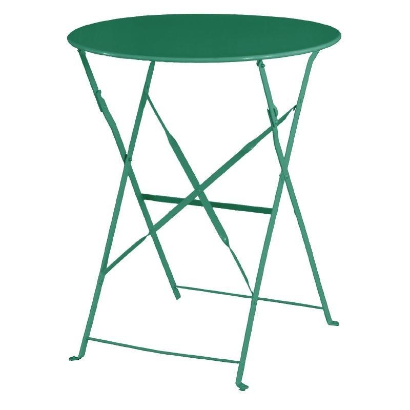Table de terrasse ronde en acier Bolero verte 595mm