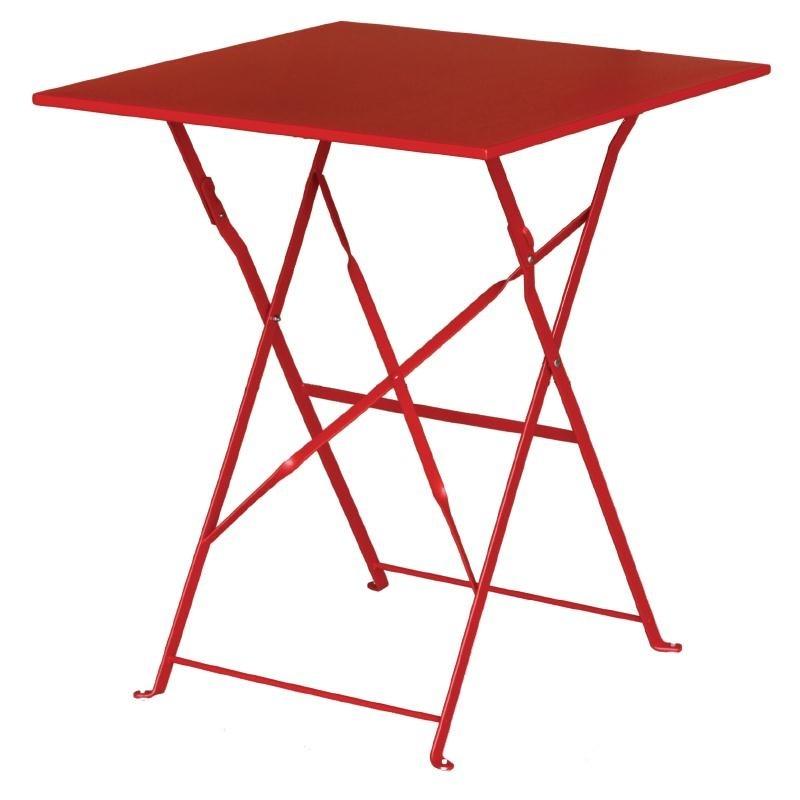 Table de terrasse carrée en acier rouge 600mm