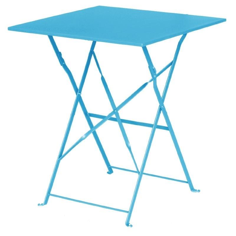 Table de terrasse carrée en acier bleu turquoise 600mm