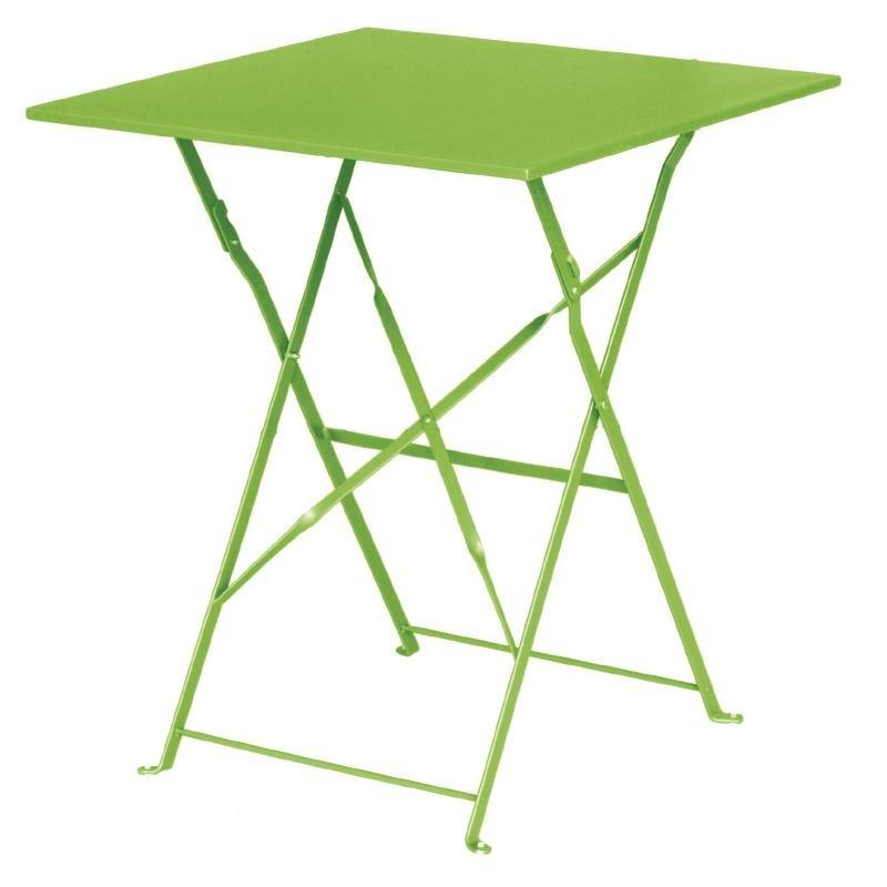 Table de terrasse carrée en acier vert anis 600mm