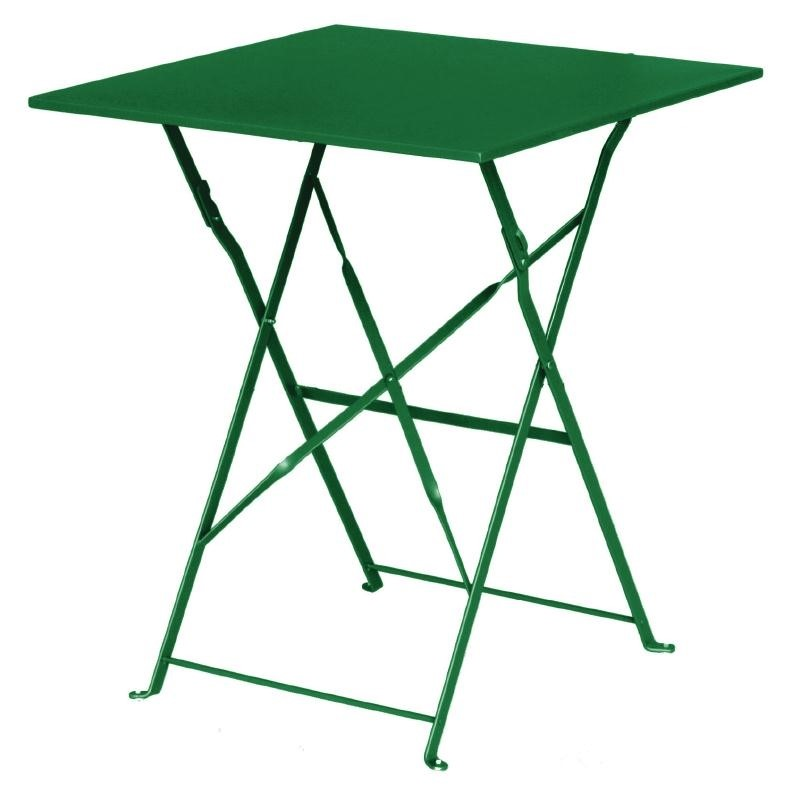 Table de terrasse carrée en acier verte 600mm
