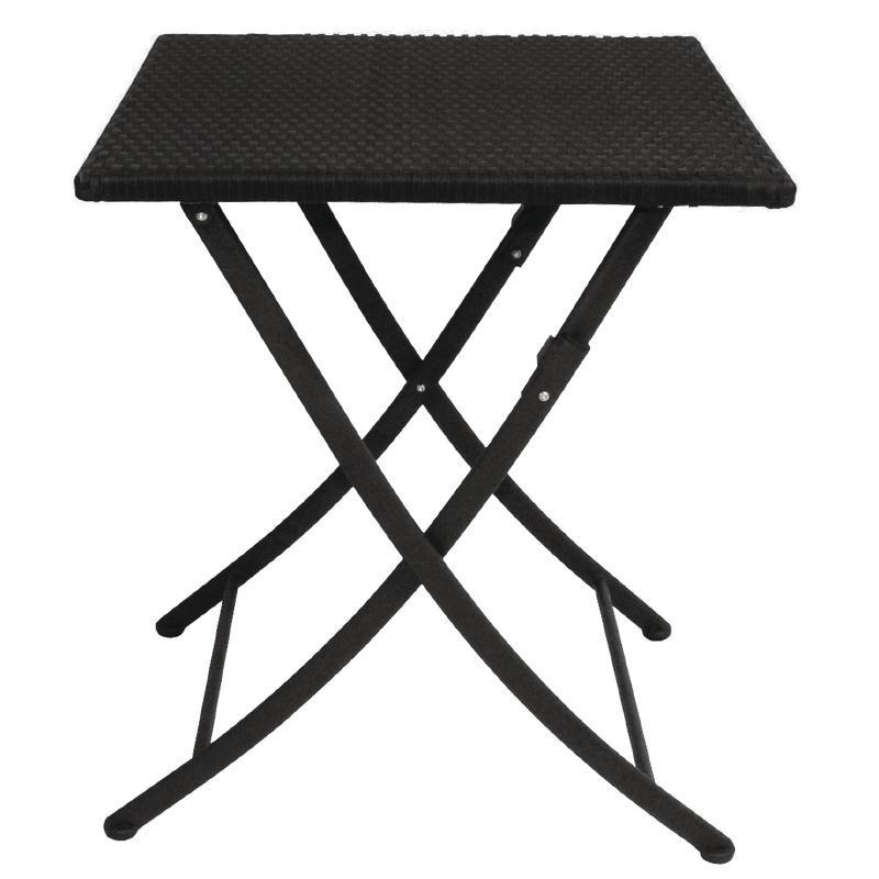 Table carrée pliante en rotin PE 600mm