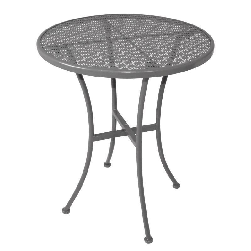 Table bistro ronde en acier ajouré grise 600mm
