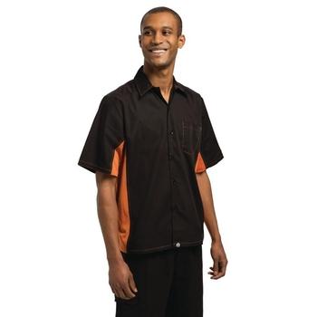 Chemise contraste unisexe  noire et orange M
