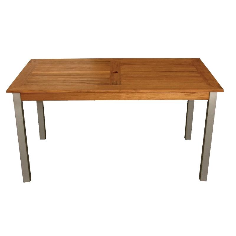 Table rectangulaire en bois et aluminium 1400mm