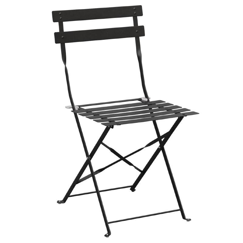 Chaises de terrasse en acier noirs par 2