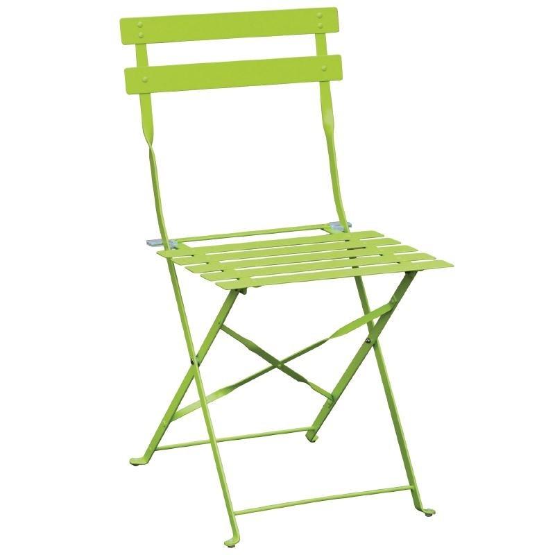 Chaises de terrasse en acier vertes par 2