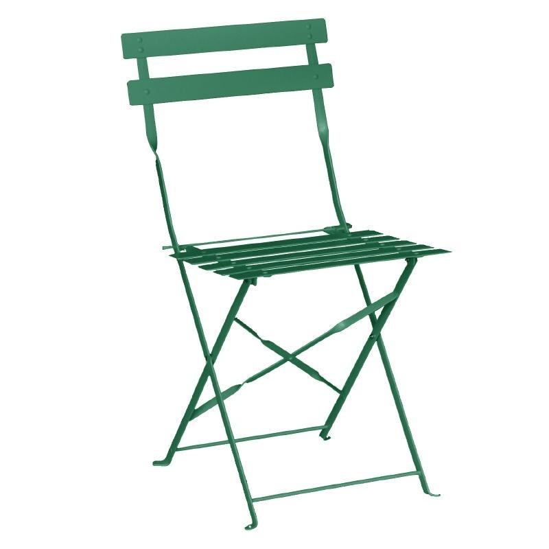 Chaises de terrasse en acier vertes foncées par 2
