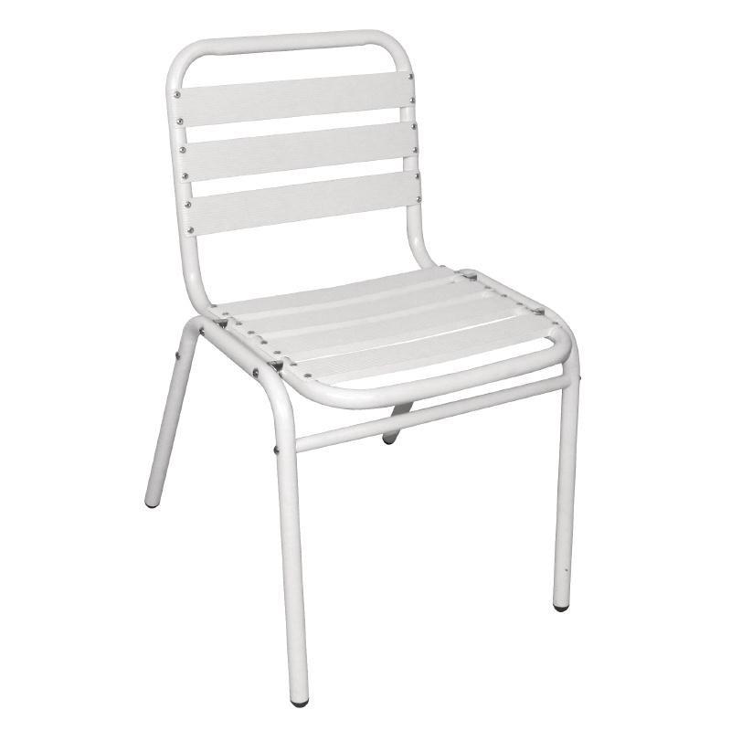 Chaises bistro en aluminium blanches par 4