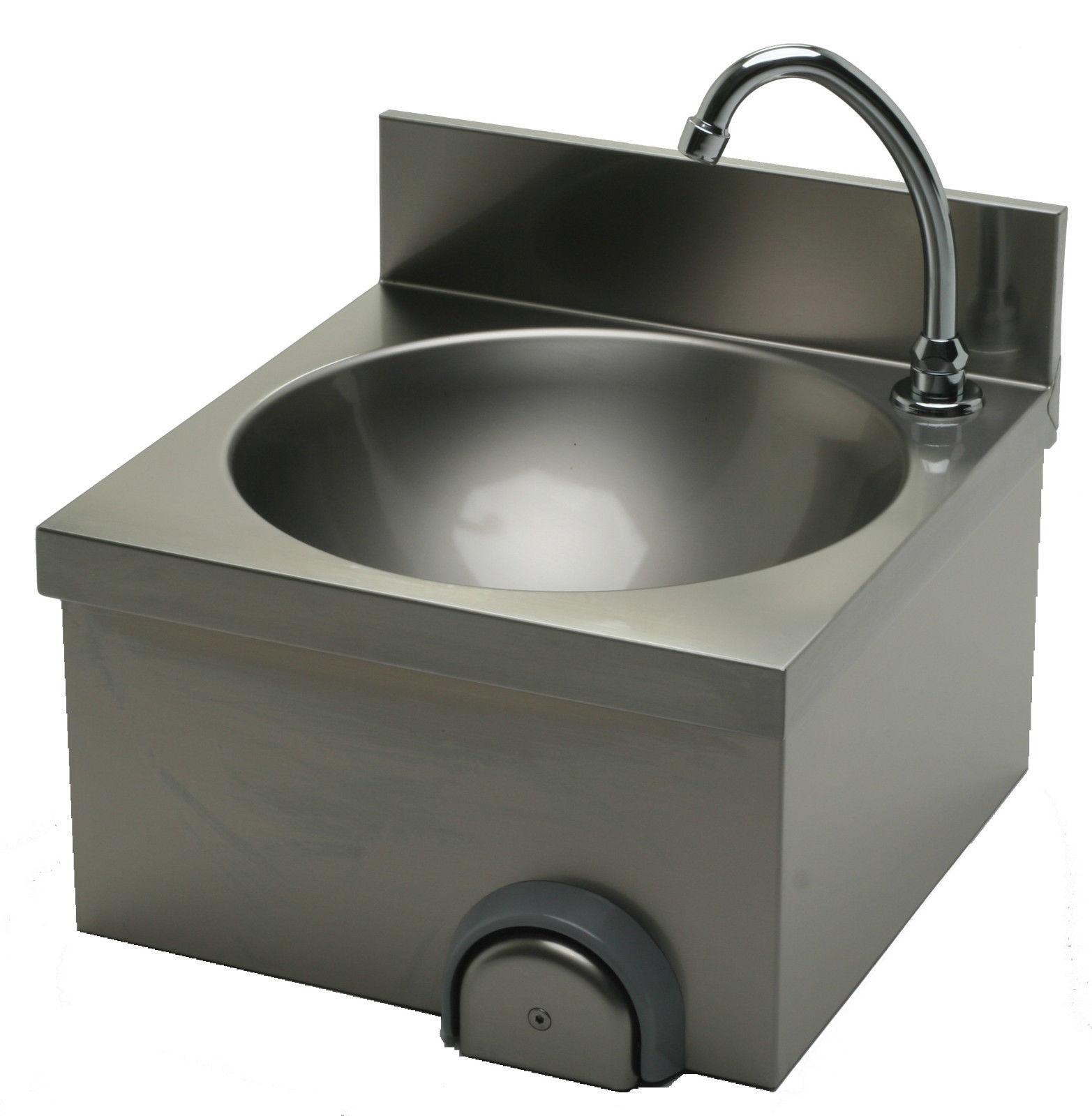 Lave main cuisine professionnelle inox cuve ronde L 400 x P 400 x H 250 mm
