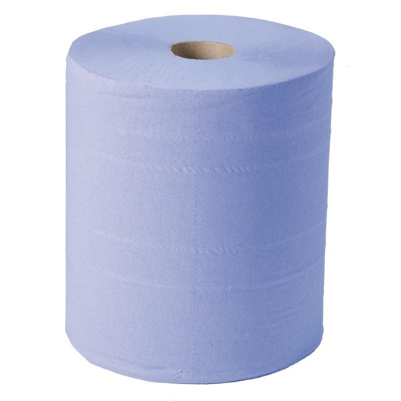 Maxi bobine d\'essuie-mains 2 plis Jantex bleu par 2