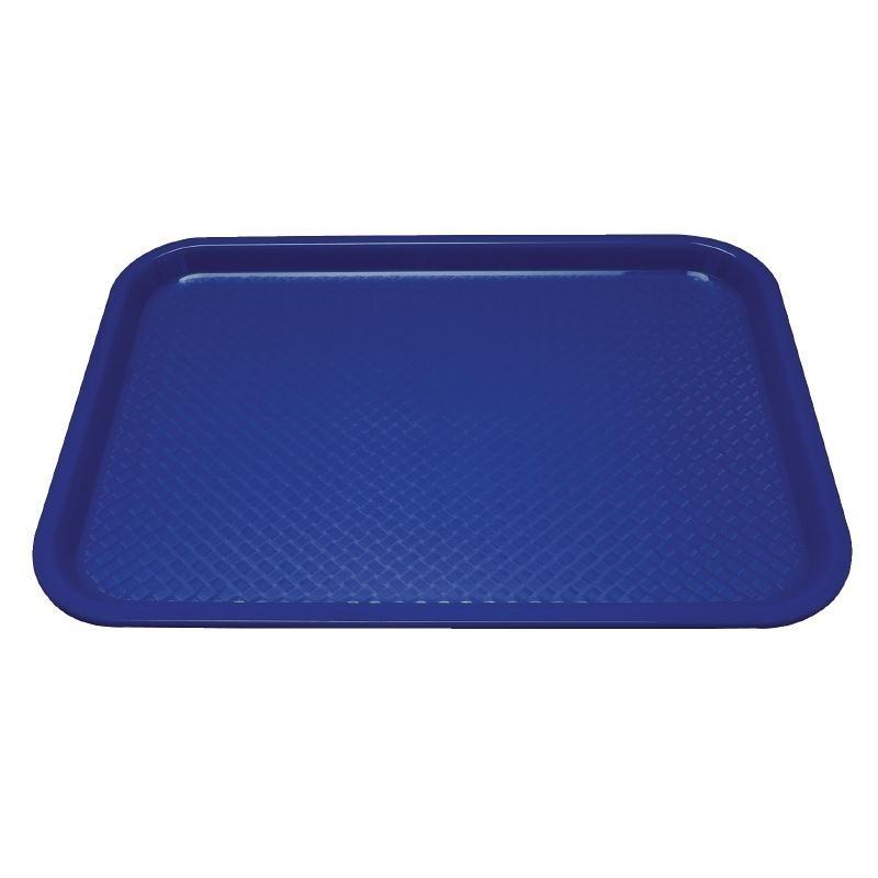 Plateau fast food en plastique Kristallon bleu 345 x 265mm.