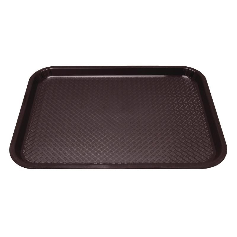 Plateau fast food en plastique Kristallon marron 345 x 265mm