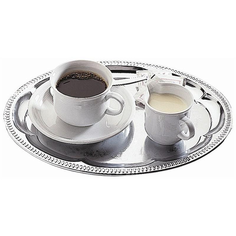 Plateau de café ovale chromé APS 300 x 220 mm
