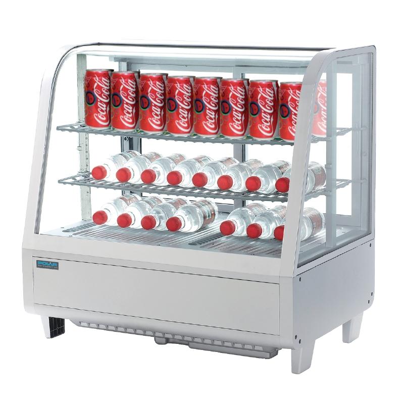 Vitrine réfrigérée de comptoir blanche Polar Série C 100L
