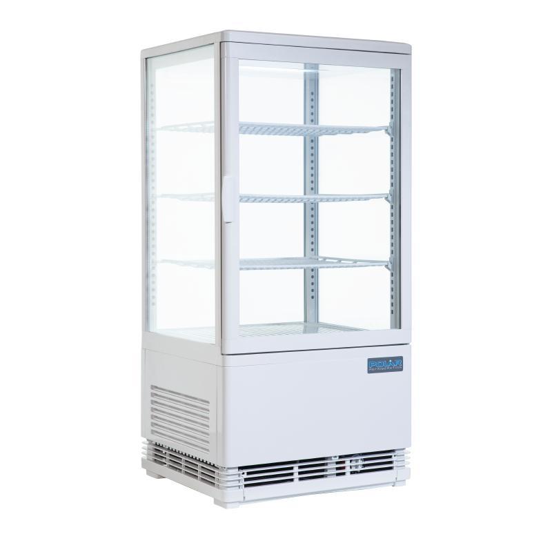 Vitrine réfrigérée portes incurvées Polar Série C 86L blanche