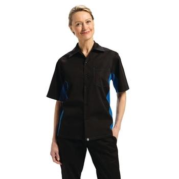 Chemise contraste unisexe noire et bleue