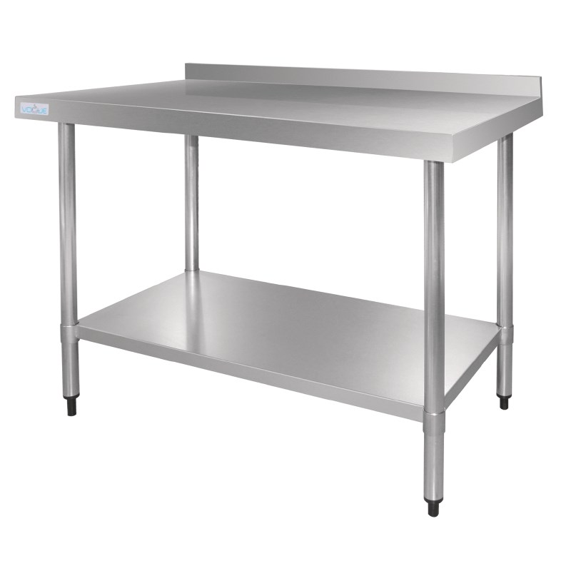 Table De Travail Inox Avec Étagère et Rebord 900x700x900(h)mm