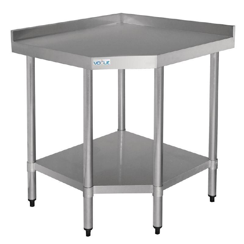 Table d\'Angle Inox Avec Étagère Basse 700x800x900(h)mm