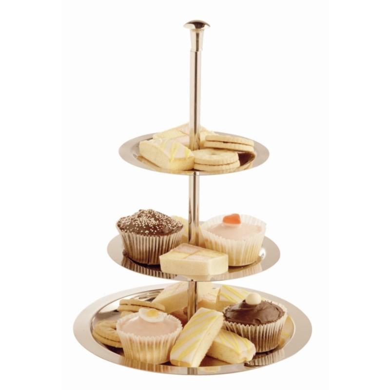 Présentoir à gâteaux à 3 niveaux Olympia en acier inoxydable 280mm