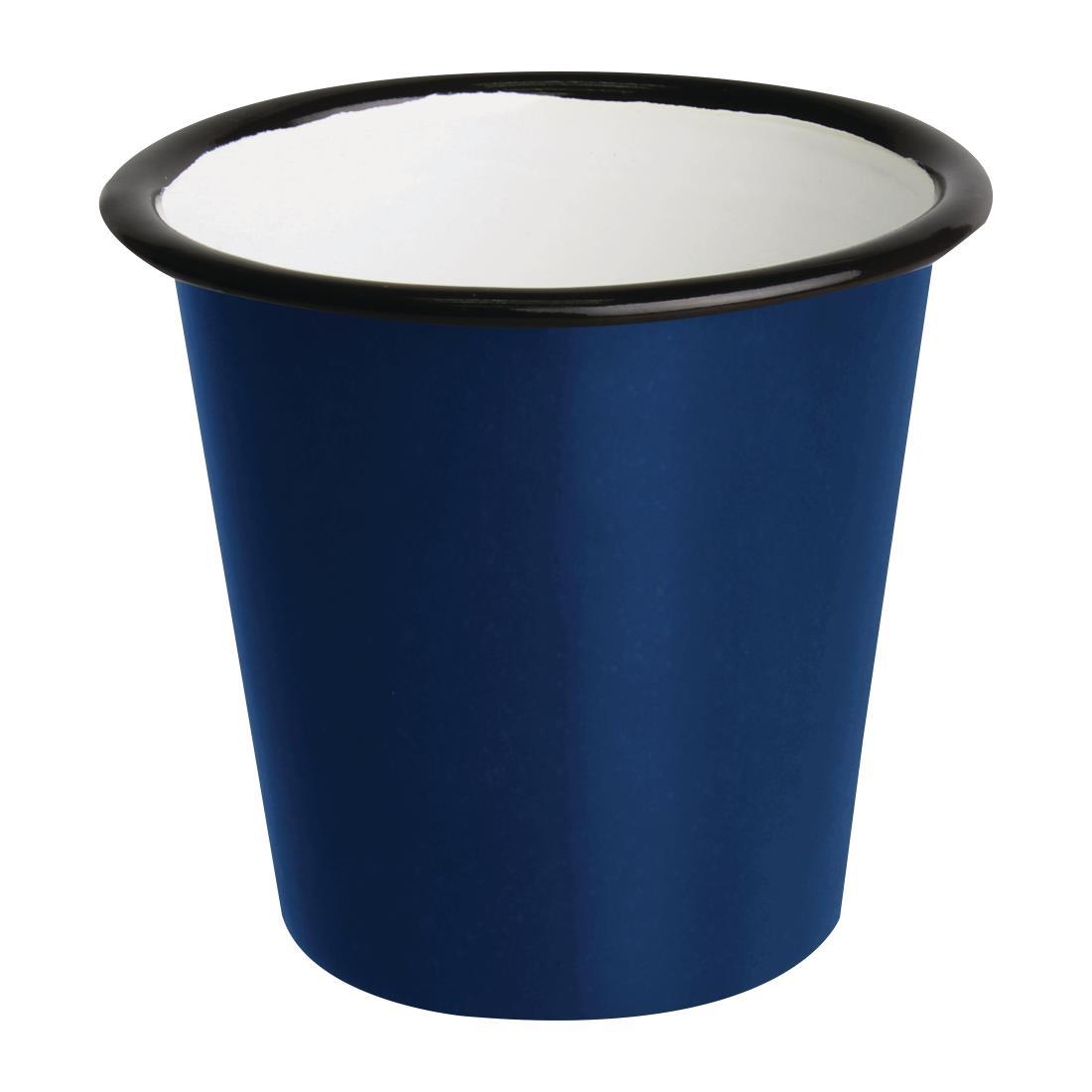 Pot à sauce en acier émaillé bleu et noir Olympia 114ml par 6