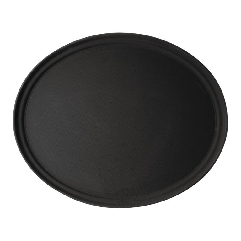 Plateau de service ovale fibre de verre antidérapant Camtread Cambro noir 60 cm