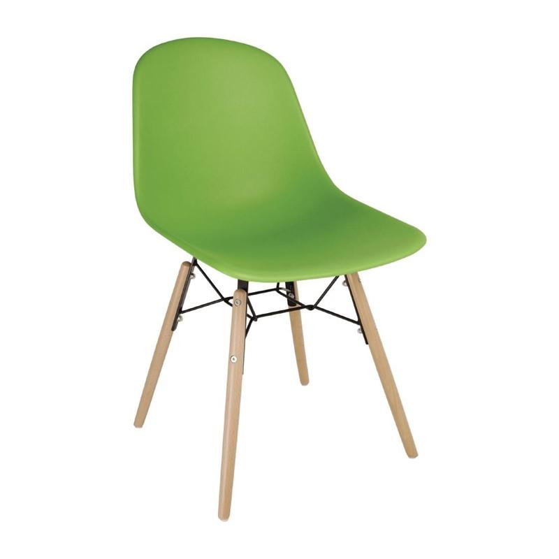 Chaise moulée PP avec structure métallique Bolero verte (lot de 2)