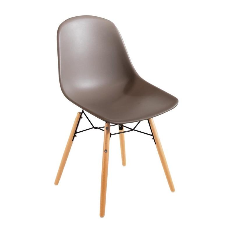 Chaise moulée PP avec structure métallique Bolero café (lot de 2)