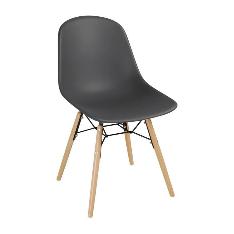 Chaise moulée PP avec structure métallique Bolero grise (lot de 2)