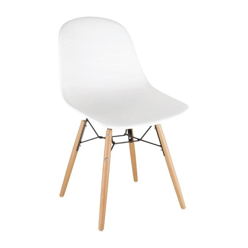 Chaise moulée PP avec structure métallique Bolero blanche (lot de 2)