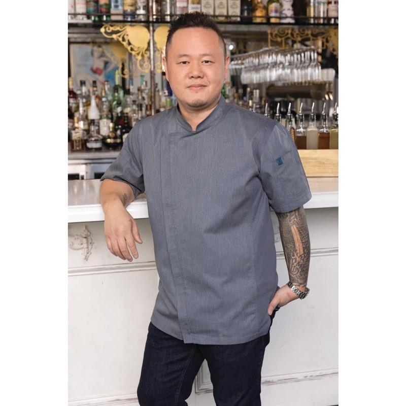 Veste chef légère manches courtes à fermeture éclair Springfield Chef Works Urban bleu encre