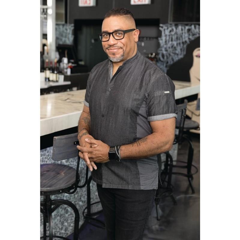 Veste à boutons pression manches courtes Chef Works Tribeca denim noir