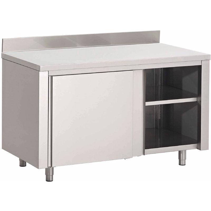 Table armoire inox avec portes coulissantes et dosseret Gastro M700  de 1000 à 2000(L)  x 700(P) x 850(H) mm