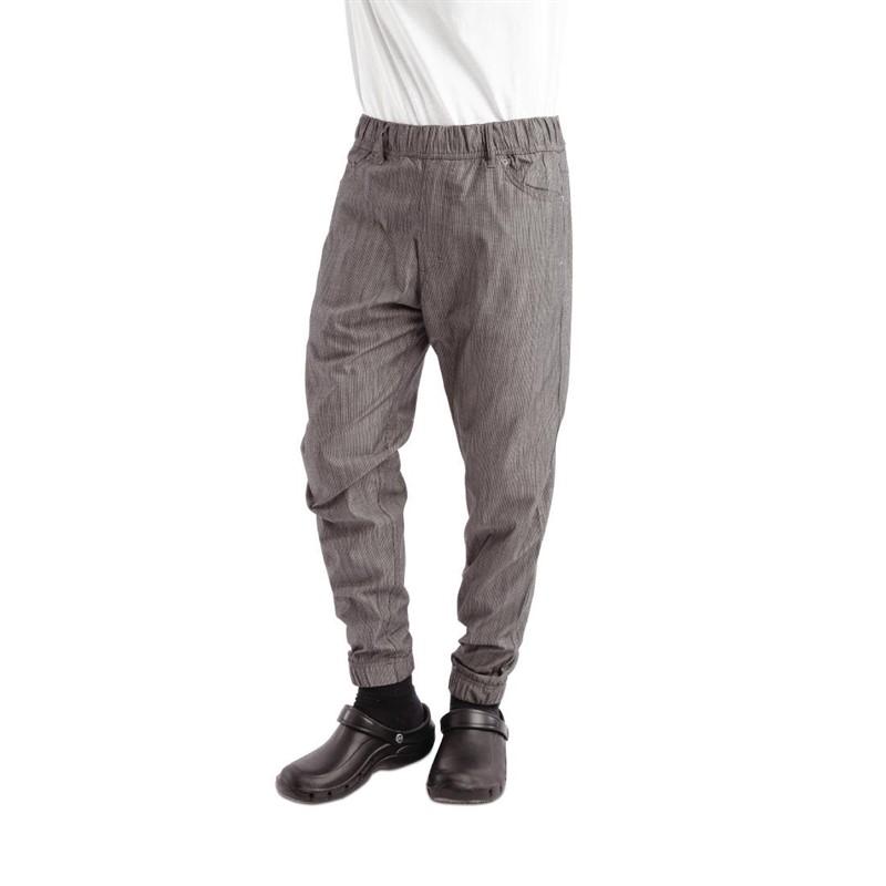 Pantalon Chef Works Urban Jogger 257 à fines rayures noires et blanches