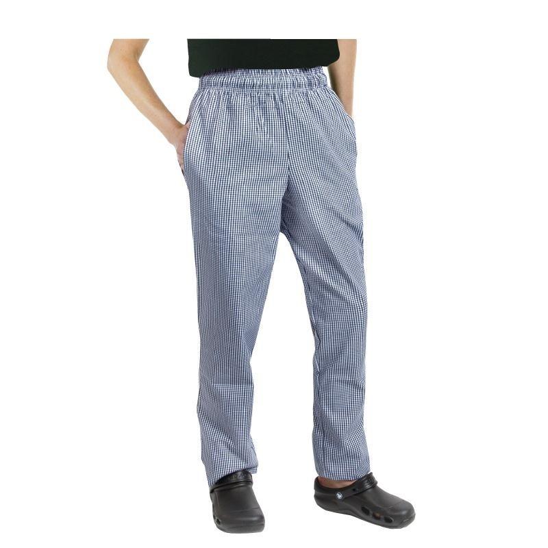 Pantalon de cuisinier unisexe Chef Works Easyfit petits carreaux bleus L