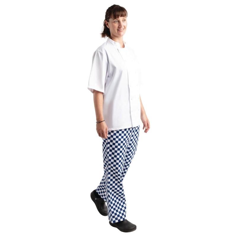 Pantalon de cuisine Whites Easyfit à carreaux blanc et bleu