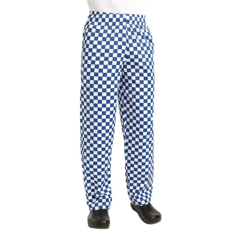 Pantalon de cuisinier unisexe Chef Works Easyfit gros carreaux bleus