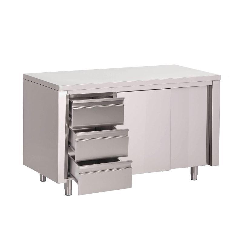 Table armoire inox avec portes coulissantes et 3 tiroirs Gastro M700 de 1400 à 2000(L) x 700(P) x 850(H) mm