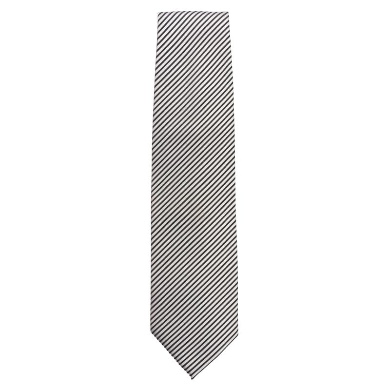 Cravate Uniform Works rayée noir et gris