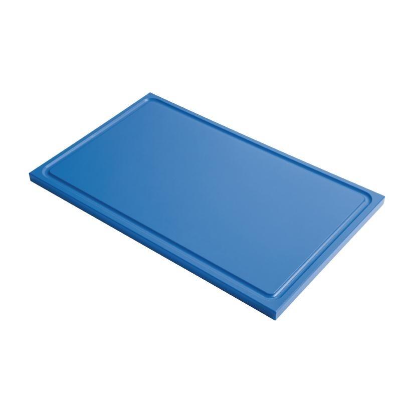 Planche à découper avec rigole GN1/2 en polyéthylène haute densité Gastro M  bleue