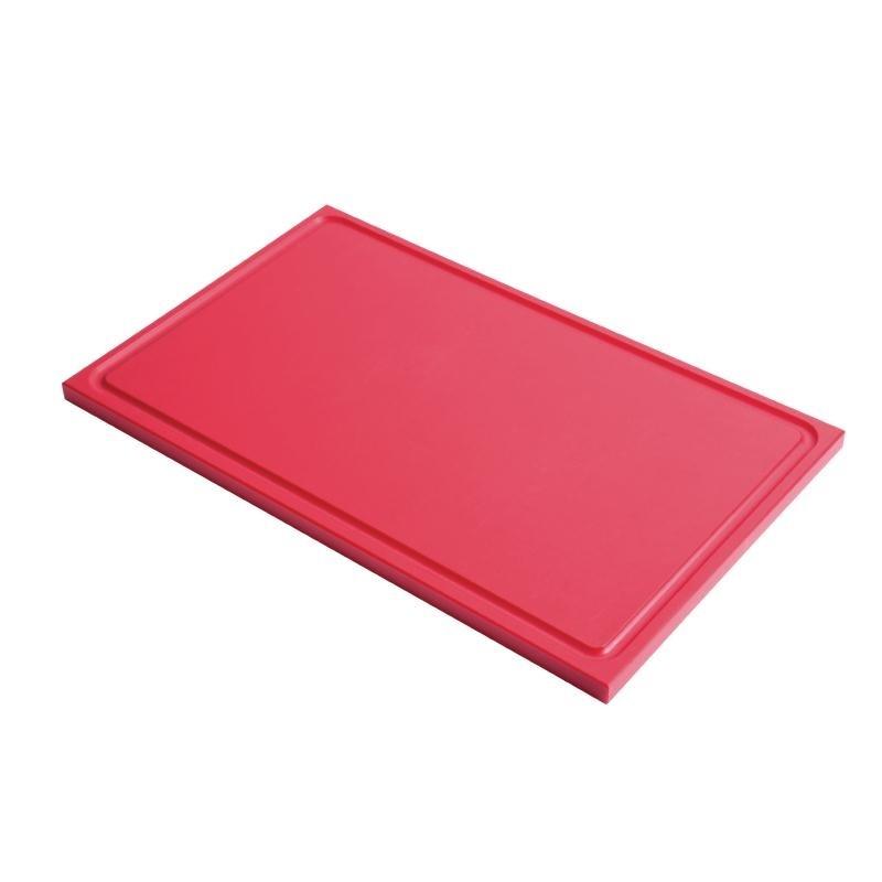 Planche à découper avec rigole GN1/2 en polyéthylène haute densité Gastro M  rouge