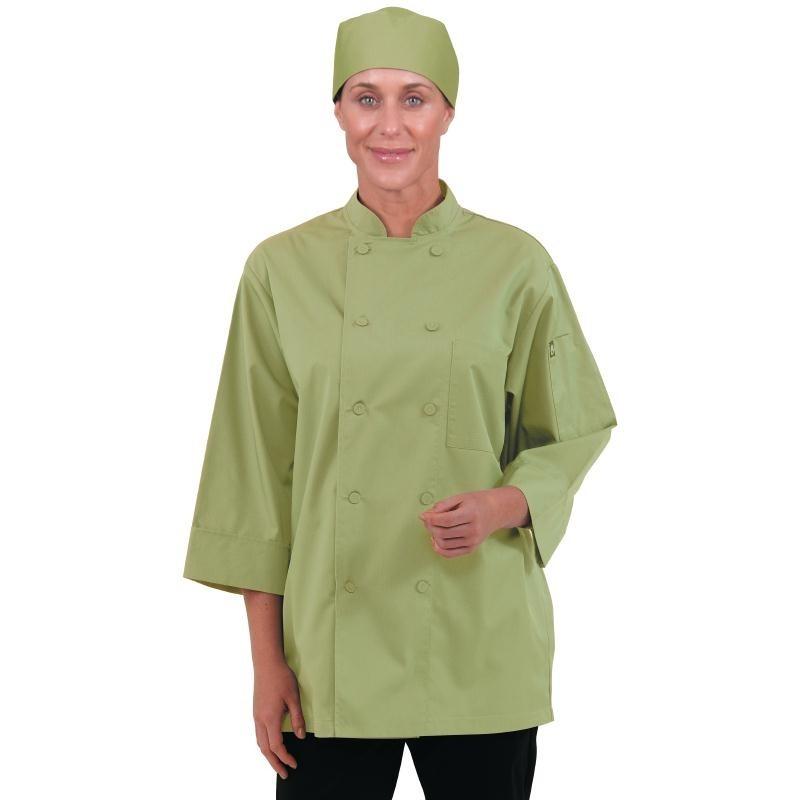 Veste de cuisinier manches 3/4 vert anis