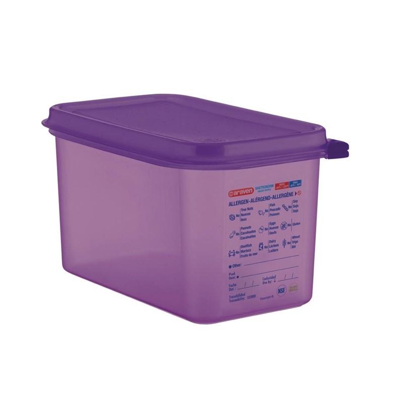 Bac hermétique violet antiallergénique GN1/4 Araven 4,3L
