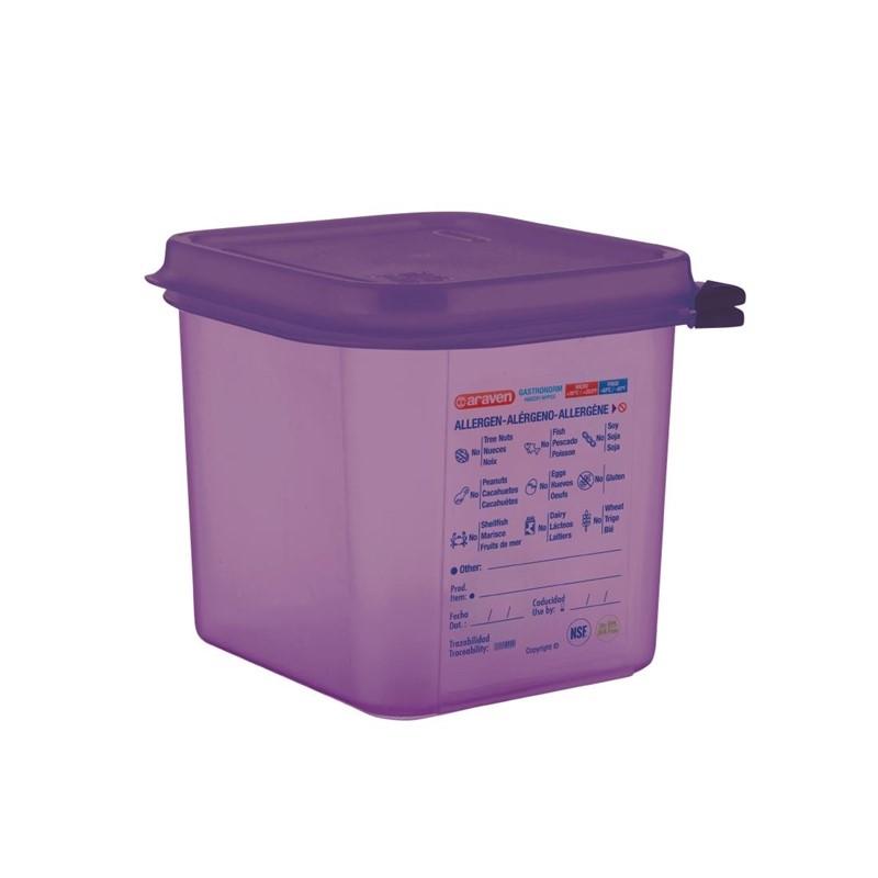 Bac hermétique violet antiallergénique GN1/6 Araven 2,6L