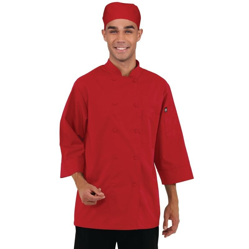 Veste de cuisinier manches 3/4 rouge