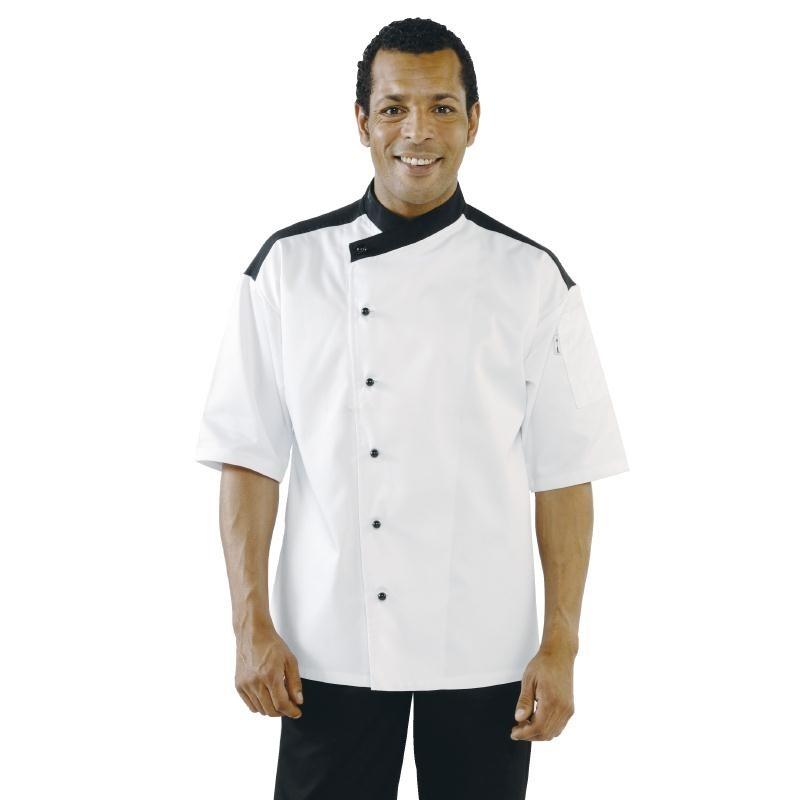 Veste de cuisinier unisexe Metz blanche et noire