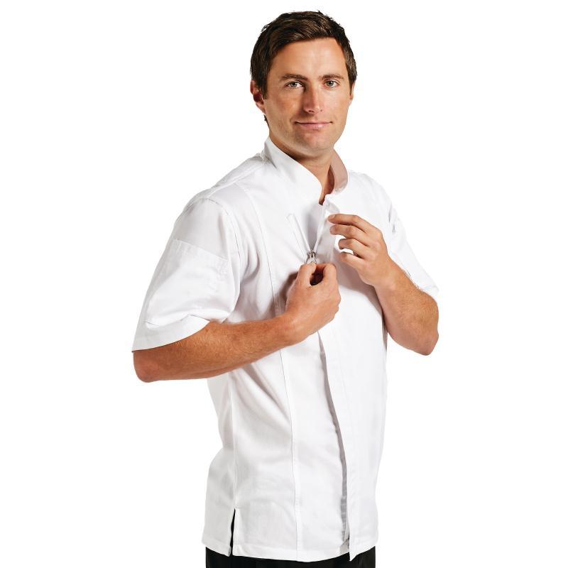 Veste de boucher homme Springfield Zipper manches courtes blanche